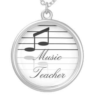 Music Teacher Silver Plated Necklace