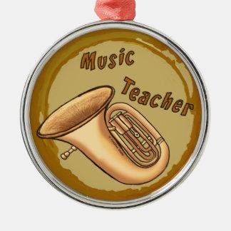 Music Teacher Tuba Premium Round Ornament