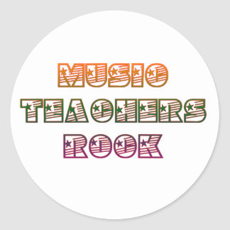 MUSIC TEACHERS ROCK CLASSIC ROUND STICKER
