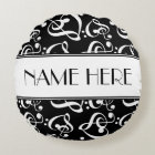 Music Theme Black And White Decorative Round Pillow