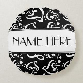 Music Theme Black And White Decorative Round Pillow