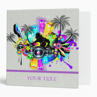 Music Theme DJ Spinning Records Abstract Design Vinyl Binders