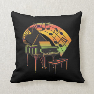 Music Theme Illustration-Abstract Piano Throw Pillow