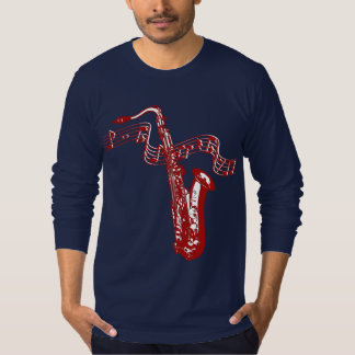 Music theme Red Saxophone and notes T-Shirt