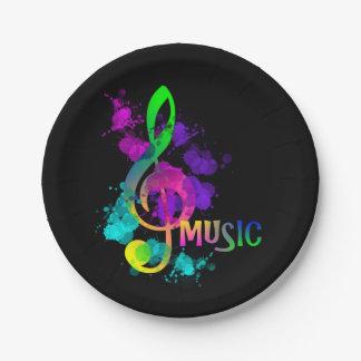 Music Themed Rainbow Treble Clef Paper Plate