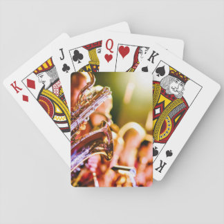 Music Themed, Shiny Brass Saxophone Player With Ba Playing Cards