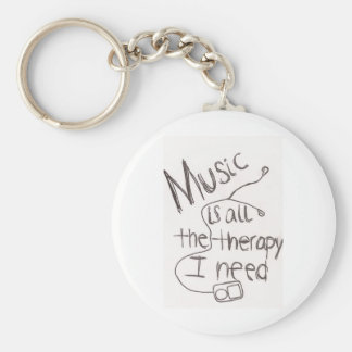 music therapy white basic round button keychain