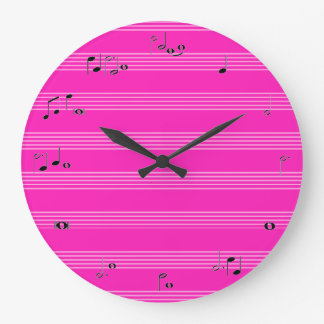 Music time clock - girly hot pink