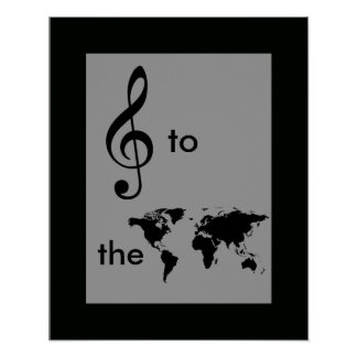 music to the world, treble clef poster