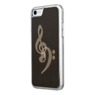 Music - Treble and Bass Clef Maple Wood Case