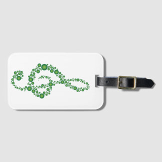 Music Treble Cleff Green Dots Luggage Tag