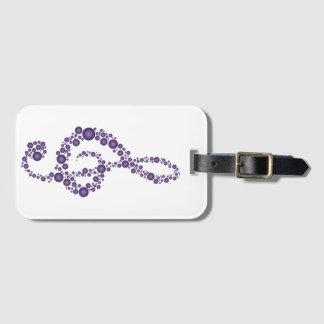 Music Treble Cleff Purple Dots Luggage Tag