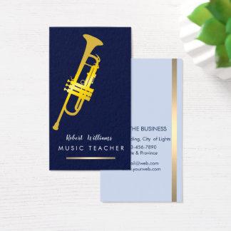 Music Trumpet Instrument Bass Band  Musician Gold Business Card