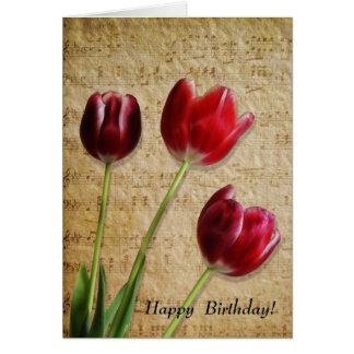Music & Tulips Birthday Card