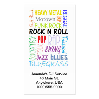 Music Types Business Cards