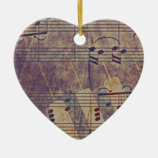 Music, vintage look B Ceramic Heart Ornament