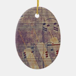 Music, vintage look B Ceramic Oval Ornament
