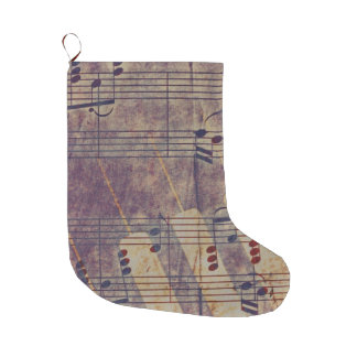 Music, vintage look B Large Christmas Stocking