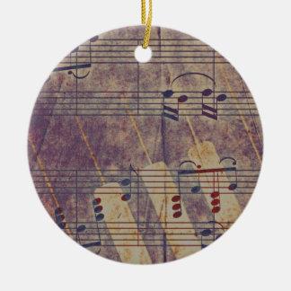 Music, vintage look B Round Ceramic Ornament