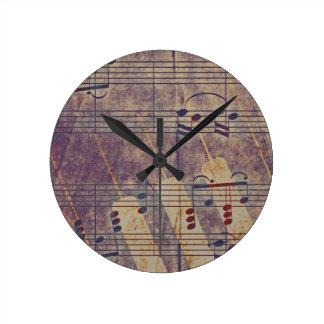 Music, vintage look B Round Clock