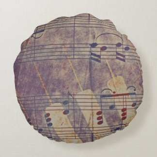 Music, vintage look B Round Pillow