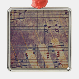 Music, vintage look B Silver-Colored Square Ornament
