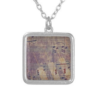 Music, vintage look B Silver Plated Necklace