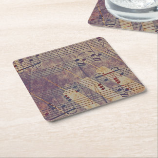 Music, vintage look B Square Paper Coaster