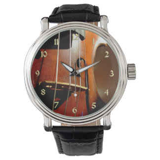 Music Vintage Violin with Gold Numbers Watch