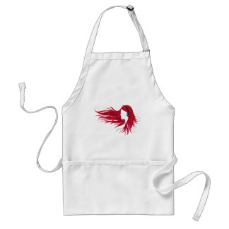 Music woman with headphones and red hair standard apron