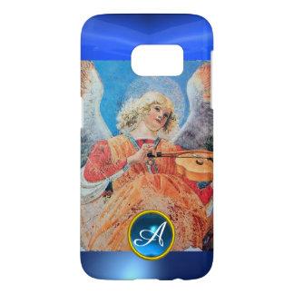 MUSICAL ANGEL , Blue Sapphire Gemstone Monogram Samsung Galaxy S7 Case