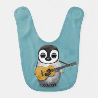 Musical Baby Penguin Playing Guitar Blue Bib
