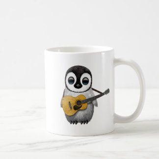 Musical Baby Penguin Playing Guitar Classic White Coffee Mug