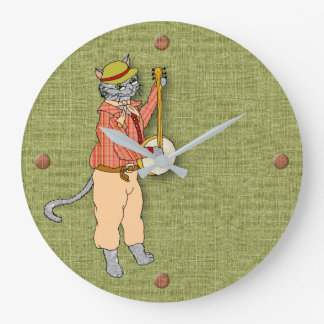 Musical Banjo Cat Keeps Good Time Large Clock