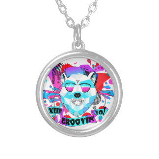 Musical Bear Silver Plated Necklace