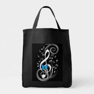 Musical  Blue Butterfly Grocery Tote Bag