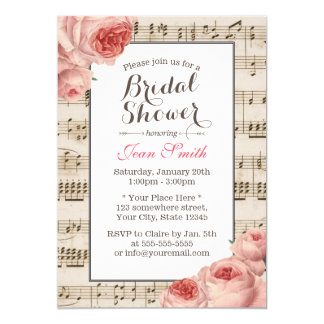 Musical Bridal Shower Vintage Pink Floral Elegant Card