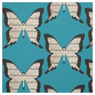 Musical butterflies - sheet music butterfly fabric