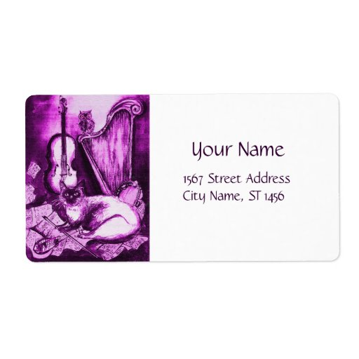 MUSICAL CAT ,Pink Purple Violet and White Custom Shipping Label