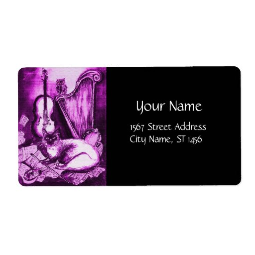 MUSICAL CAT ,Pink Purple Violet  White and Black Shipping Label