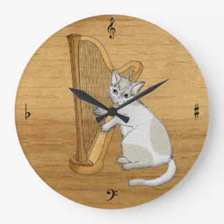Musical Cat Plays the Harp Wallclock