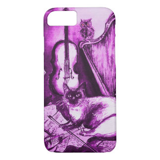 MUSICAL CAT ,Purple Violet and White iPhone 8/7 Case