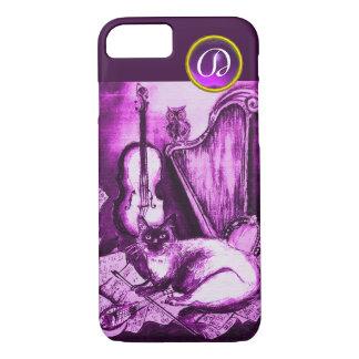 MUSICAL CAT WITH OWL IN PINK PURPLE GEM MONOGRAM iPhone 8/7 CASE
