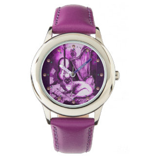 MUSICAL CAT WITH OWL ,Purple White Watch