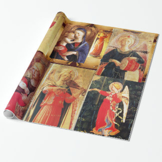 MUSICAL CHRISTMAS ANGELS AND MADONNA WITH CHILD WRAPPING PAPER