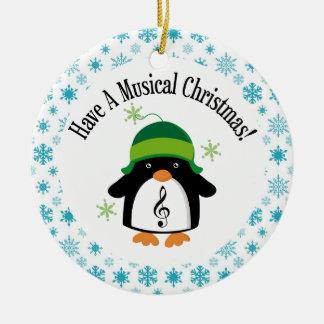 Musical Christmas Music Penguin Gift Ceramic Ornament