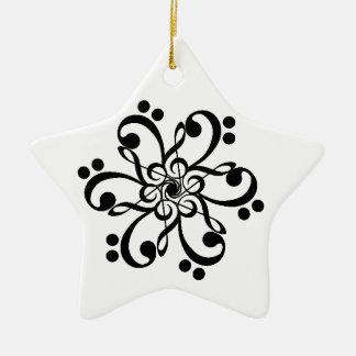Musical Clef Barnstar Ceramic Star Ornament