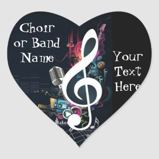 Musical Cleft Note Abstract Heart Sticker