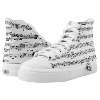 musical composition on white high tops