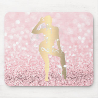 Musical Dance Girl Glitter Pink Rose Gold Blush Mouse Pad